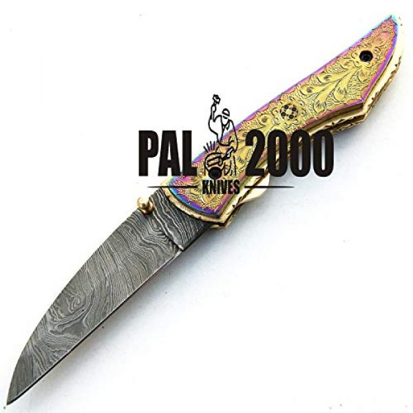 PAL 2000 KNIVES Folding Survival Knife 5 PAL 2000 KNIVES - 9515-SJRJ Titanium Handle - Best Handmade Damascus Pocket Knife - Beautiful Folding Knife with Sheath