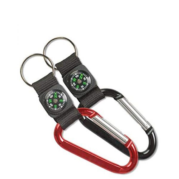 Kicko Survival Compass 3 Kicko Rock Clip Keychain with Compass Design - 12 Pack Metal Self Lock Clip - Clasps for Bag and Belt Loop Accessory, Outdoor Activities, Traveling Guide, Sporting Tool, Party Favors