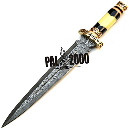 PAL 2000 KNIVES  4 PAL 2000 KNIVES Handmade Damascus Hunting Knife 16 Inches Buffalo Horn and Camel Bone Handle with Sheath 9532