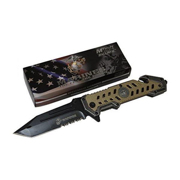M-Tech Folding Survival Knife 2 USMC Marine Tactical Folding Pocket Knife G10 Handle Sharp Tanto Blade Spring Assisted Military Knives EGA Elite Survival Semper Fi (Desert Tan)
