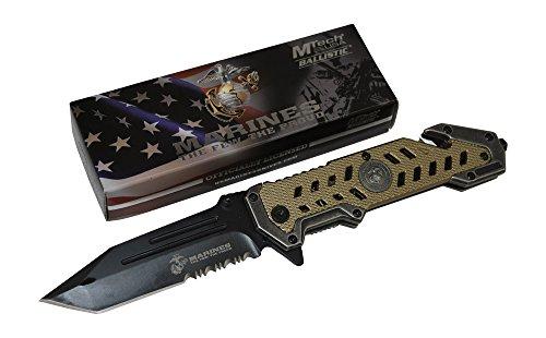 M-Tech  2 USMC Marine Tactical Folding Pocket Knife G10 Handle Sharp Tanto Blade Spring Assisted Military Knives EGA Elite Survival Semper Fi (Desert Tan)