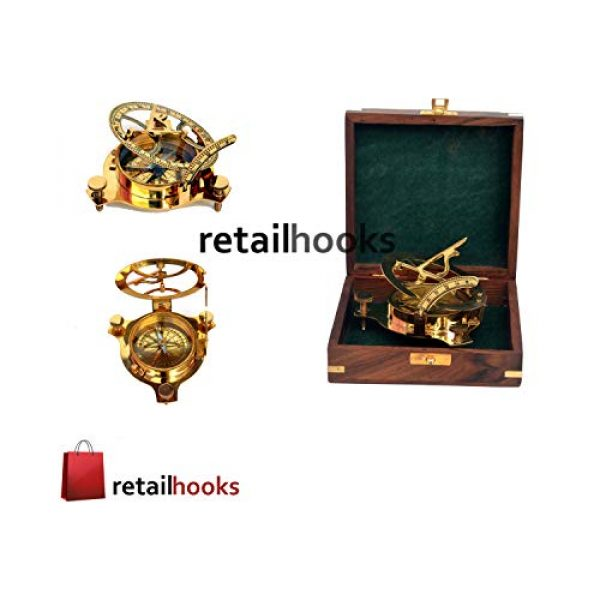 """RETAILHOOKS Survival Compass 6 RETAILHOOKS 3"""" Sundial Compass in Solid Brass with Rosewood Box for Hiking, Camping, Boating and Backpacking - Nautical Navigational Device"""