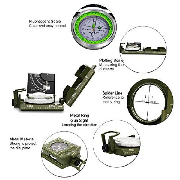 AOFAR Survival Compass 4 AOFAR AF-4074 Military Camo Compass for Hiking,Lensatic Sighting Waterproof,Durable,Inclinometer for Camping,Boy Scount,Geology Activities Boating