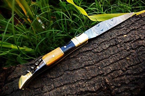 "DKC Knives  6 DKC Knives (14 5/18) Sale DKC-53 Blonde Squire Damascus Folding Laguiole Pocket Knife 4.5"" Folded 8"" Long 2.5oz oz High Class Looks Hand Made"