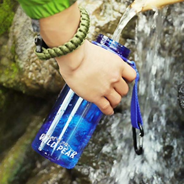 Wild Peak Survival Water Filter 5 Wild Peak Stay Alive-4 Outdoor 4-Stage Water Filter Straw Emergency 22oz Bottle with Activated Carbon for Survival, Camping, Hiking, Climbing, Backpacking (1500 Liters)