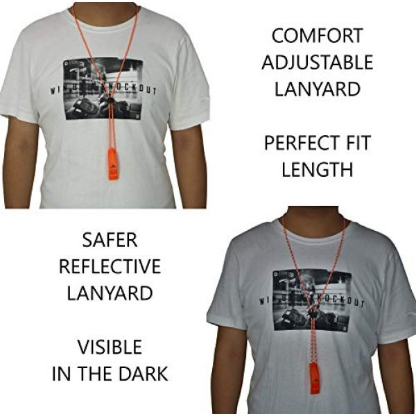 LuxoGear Survival Whistle 4 LuxoGear Emergency Whistles with Lanyard Safety Whistle Survival Shrill Loud Blast for Kayak Life Vest Jacket Boating Fishing Boat Camping Hiking Hunting Rescue Signaling Kids Lifeguard Plastic 2 Pack