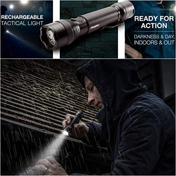 Energizer Survival Flashlight 2 Energizer Advanced LED Flashlights, IPX4 Water Resistant, Super Bright, Aircraft Grade Metal Tactical Flashlight, USB Rechargeable or AA Battery Option (Batteries Included)