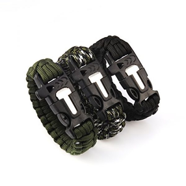 Andux Survival Paracord Bracelet 2 Andux Outdoor Emergency Paracord Survival Bracelet Flint Fire Starter Rope Bracelet 1 Pack YJSH-01