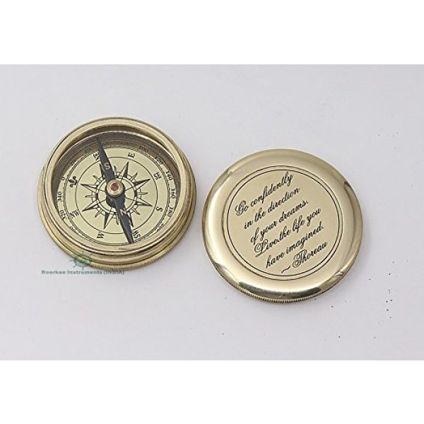 Roorkee Instruments India Survival Compass 2 ROORKEE INSTRUMENTS (INDIA) A NAUTICAL REPRODUCTION HOUSE Go Confidently in The Direction of Your Dreams Thoreau's Quote Compass W/Case