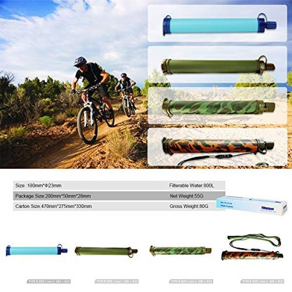 HEFUTE Survival Water Filter 2 HEFUTE Water Filter Straw Survival Filtration Portable Gear Emergency Preparedness Supply for for Drinking Hiking Camping Travel Hunting Fishing