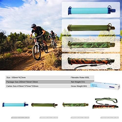 HEFUTE  2 HEFUTE Water Filter Straw Survival Filtration Portable Gear Emergency Preparedness Supply for for Drinking Hiking Camping Travel Hunting Fishing