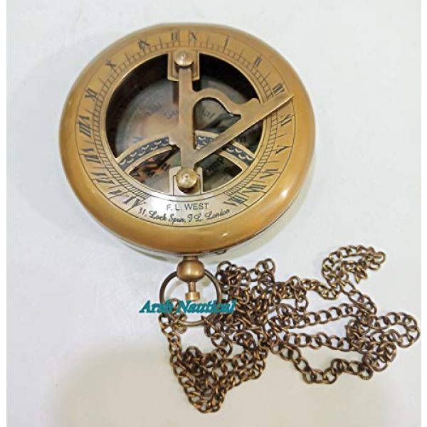 Aysha Nautical Survival Compass 3 Aysha Nautical Brass Sundial Compass with Leather Case and Chain - Push Open Compass - Steampunk Accessory - Antiquated Finish - Beautiful Handmade Gift -Sundial Clock