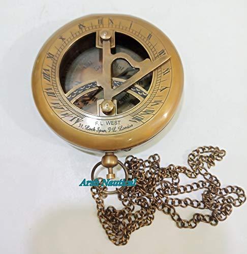 Aysha Nautical  3 Aysha Nautical Brass Sundial Compass with Leather Case and Chain - Push Open Compass - Steampunk Accessory - Antiquated Finish - Beautiful Handmade Gift -Sundial Clock