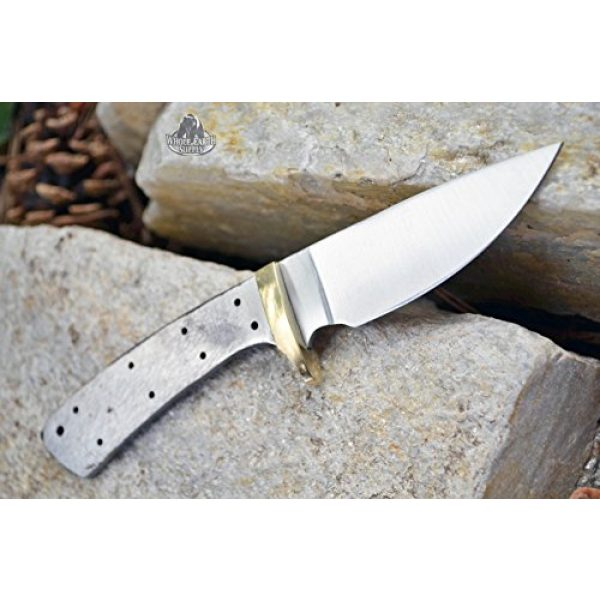 Whole Earth Supply Fixed Blade Survival Knife 3 Whole Earth Supply (Set of 2) Custom Blank Knives Knife Blade Drop Point 6 1/2in w/Brass Guard Bolster BL013