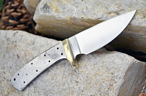 Whole Earth Supply  3 Whole Earth Supply (Set of 2) Custom Blank Knives Knife Blade Drop Point 6 1/2in w/Brass Guard Bolster BL013