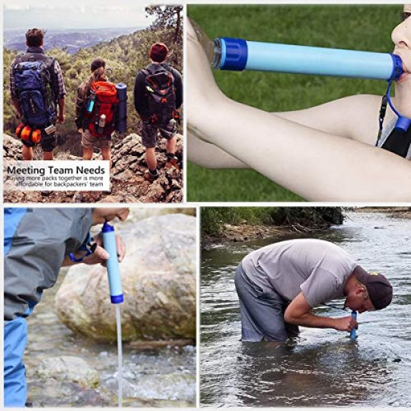 Amorom Survival Water Filter 6 Amorom Water Filter Straw, Portable Outdoor Survival Personal Water Filtration System for Camping Hiking Climbing Backpacking, 2 Pack