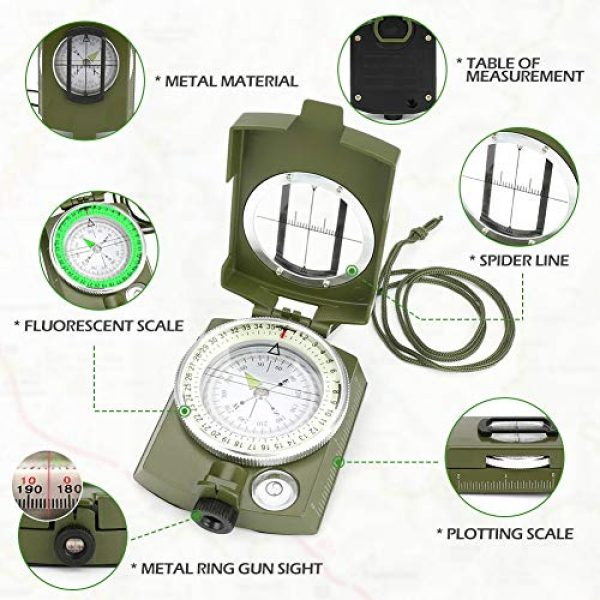 Intsun Survival Compass 2 Intsun Military Compass for Hiking, Multifunctional Lensatic Compass Waterproof and Shakeproof, Sighting Navigatio Compasses for Hiking, Camping, Motoring, Boating, Boy Scout