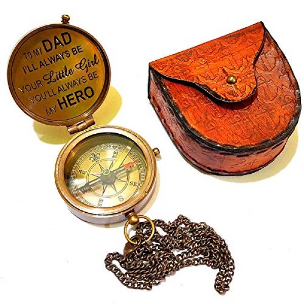 Arsh Nautical Survival Compass 2 Arsh Nautical ,to My DAD I,LL Always BE, Brass Compass Confirmation Gift Ideas, Baptism Gifts
