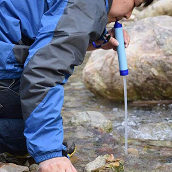 EOPER Survival Water Filter 5 EOPER Personal Water Filter Portable Survival Purifier Filtration Membrane Activated Charcoal Outdoor Drinking Equipment for Camping Hiking Hunting Fishing Travel 1 Pieces Blue