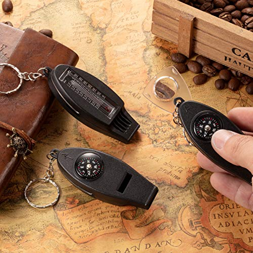 BBTO  6 BBTO 16 Pack Multifunctional Whistle Compass Thermometer Magnifier Sports Multi-Function Whistle Emergency Survival Tool