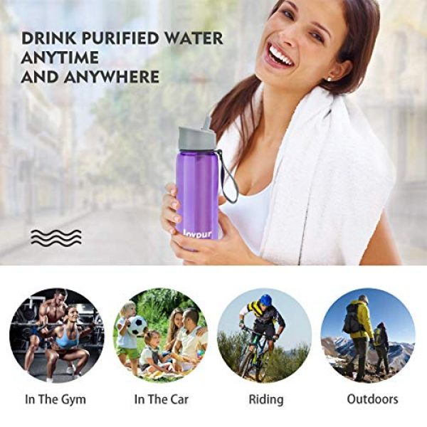 joypur Survival Water Filter 4 joypur Outdoor Filtered Water Bottle - BPA Free,with Filter Integrated 3 Stage Portable Water Bottle for Camping Travel Hiking Backpacking