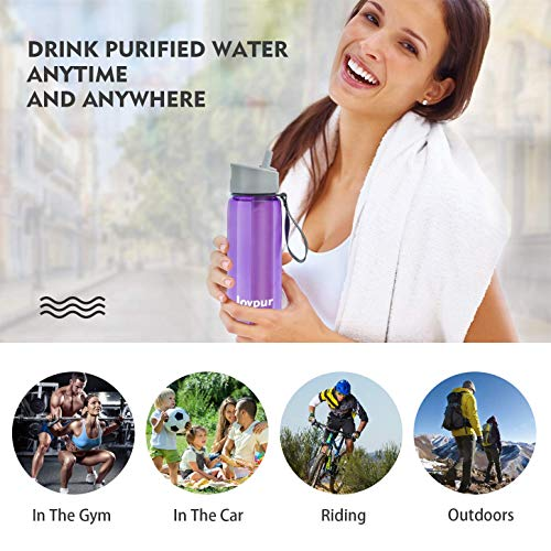 with Filter Integrated 3 Stage Portable Water Bottle for Camping Travel Hiking Backpacking