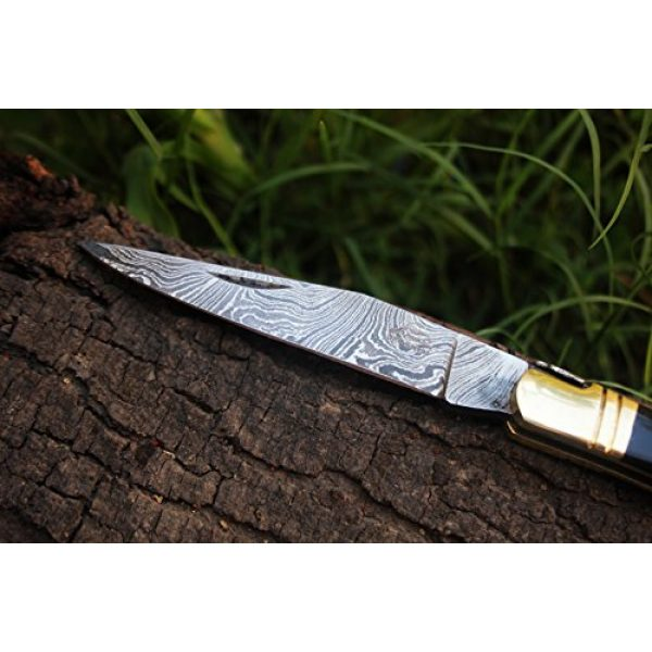"DKC Knives Folding Survival Knife 4 DKC Knives (14 5/18) Sale DKC-53 Blonde Squire Damascus Folding Laguiole Pocket Knife 4.5"" Folded 8"" Long 2.5oz oz High Class Looks Hand Made"