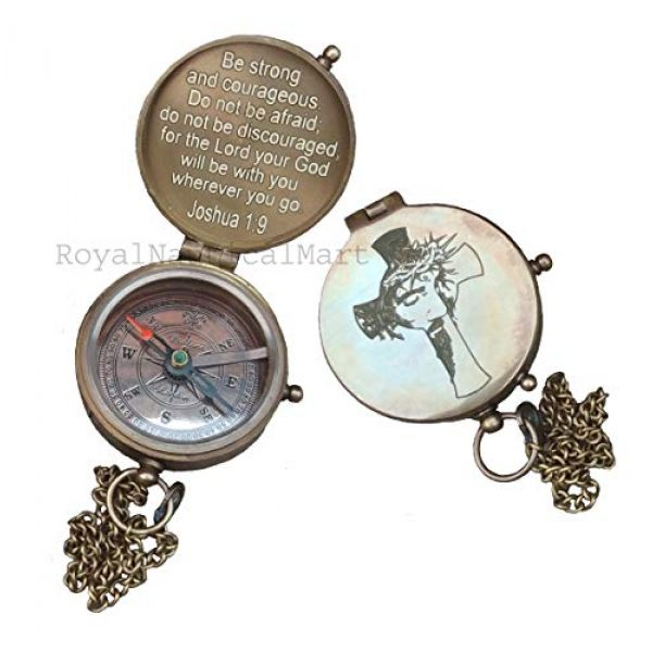 Royalmart Survival Compass 4 Royalmart Antique Compass Be Strong and Courageous Verse with Joshua Cross Engraved on Working Compass, Confirmation Gift Ideas, Graduation Gifts, Faith Gift, Vintage Gift
