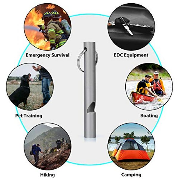 Ti22 Survival Whistle 7 Ti22 Air Titanium Emergency Whistle, Sports Loud Whistle with Keychain for Emergency Survival, Lifeguard, Hiking, Camping, Boating and Dog Training (Pack of 2)