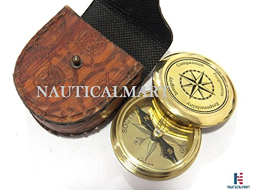 NauticalMart Survival Compass 5 NauticalMart Vintage Brass Compass with Nautical Gift Case Integrity, Responsibility, Forgiveness, Compassion Maritime