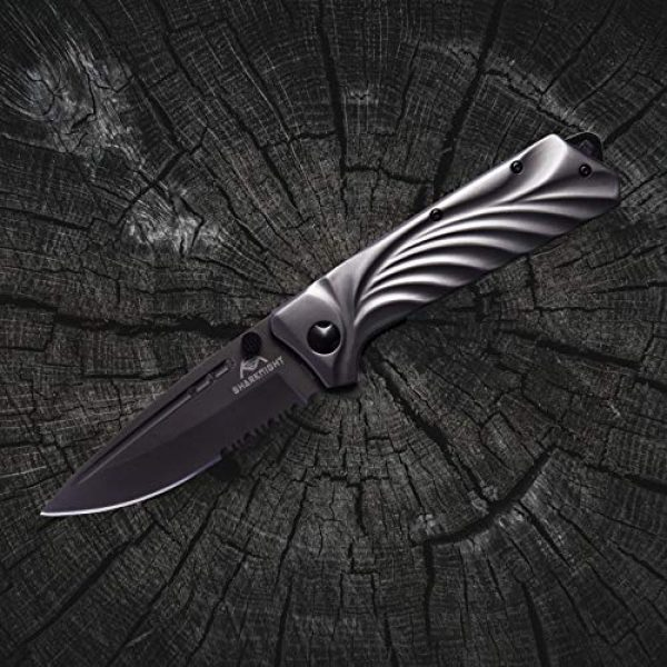 SHARKNIGHT Folding Survival Knife 5 SHARKNIGHT Folding Knife, Pocket Razor Sharp W2 Camping Knife with Titanium Coating 440C Steel Blade 3.6 inches Everyday Carry, Rescue Glass Breaker, Best Survival Outdoor Hunting Knife Gray