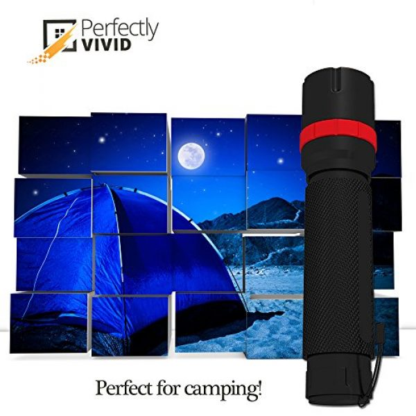 Perfectly Vivid Survival Flashlight 2 Perfectly Vivid Bright LED Tactical Flashlight With Focusing Lens Best High Lumen Output Waterproof Multiple Memory Mode, Aircraft Grade Aluminum Built To Last 100,000+ Hours! 100% Satisfaction Guaranteed