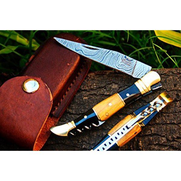 "DKC Knives Folding Survival Knife 2 DKC Knives (14 5/18) Sale DKC-53 Blonde Squire Damascus Folding Laguiole Pocket Knife 4.5"" Folded 8"" Long 2.5oz oz High Class Looks Hand Made"