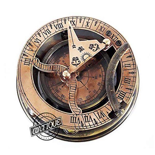 AV Survival Compass 7 AV Maritime Sundial Compass Brass Solid Nautical Sundiel Clock Compasses, Gifts for Travelers, Hiking, Trekking (Antique Finish)