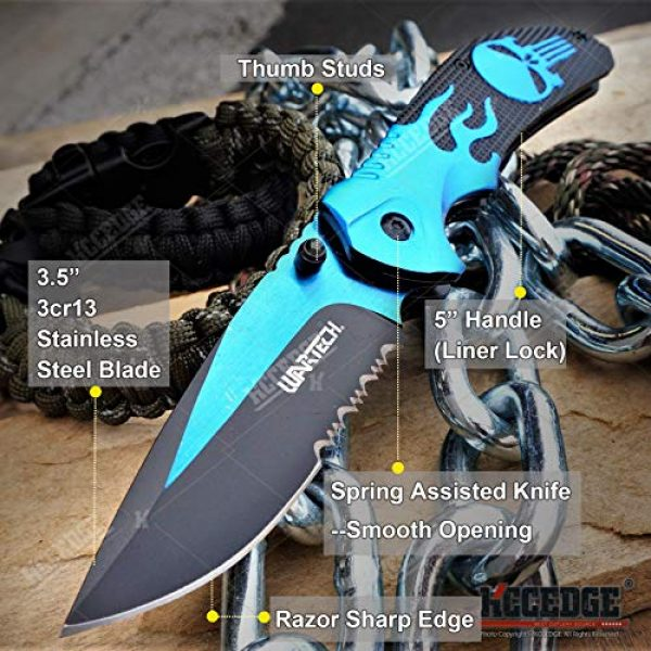KCCEDGE BEST CUTLERY SOURCE Folding Survival Knife 2 KCCEDGE BEST CUTLERY SOURCE EDC Pocket Knife Camping Accessories Razor Sharp Edge Flame Skull Folding Knife Camping Gear Survival Kit 58403