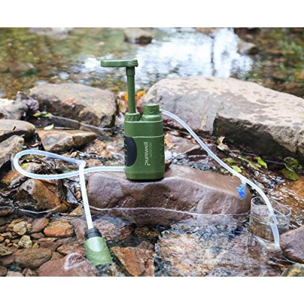 Purewell Survival Water Filter 4 Purewell Water Purifier Pump with Replaceable Carbon 0.01 Micron Water Filter, 4 Filter Stages, Portable Outdoor Emergency and Survival Gear - Camping, Hiking, Backpacking
