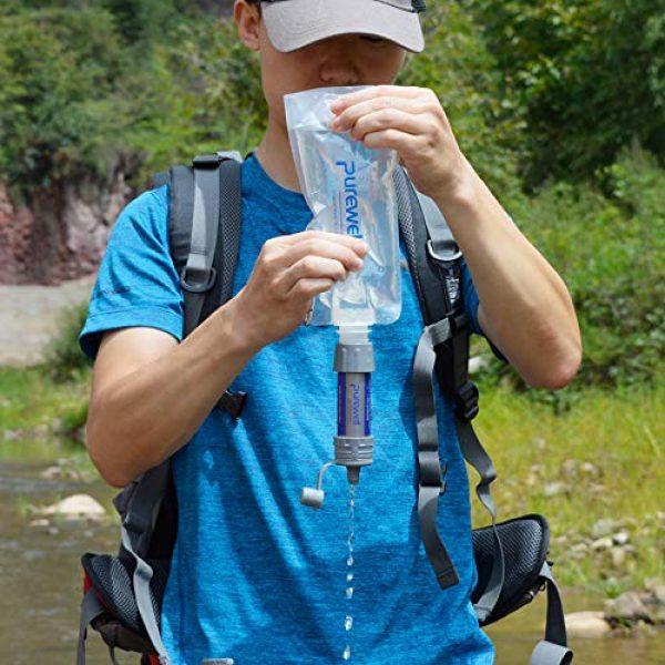 Konren Survival Water Filter 7 Konren Portable Water Filtration System, Personal Outdoor Water Purifier Mini Filter for Outdoor Activities
