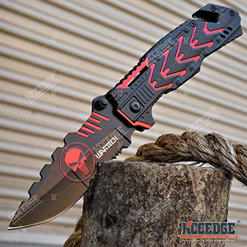 KCCEDGE BEST CUTLERY SOURCE  5 KCCEDGE BEST CUTLERY SOURCE EDC Pocket Knife Camping Accessories Razor Sharp Edge Skull Folding Knife Camping Gear Survival Kit 58014