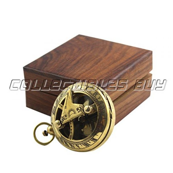 collectiblesBuy Survival Compass 5 Marine Sundial Compass with Nautical Solid Wooden Box Vintage Brass Ship Navigate Device Nautical Gift Collection