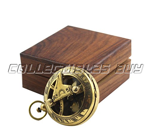 collectiblesBuy  5 Marine Sundial Compass with Nautical Solid Wooden Box Vintage Brass Ship Navigate Device Nautical Gift Collection