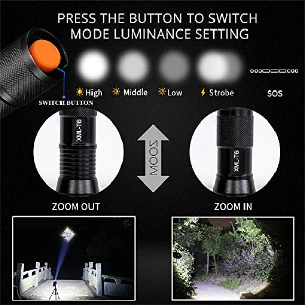 Airand Survival Flashlight 7 Airand LED Tactical Flashlight 3000 Lumen Rechargeable LED Flashlight Torch Flashlight 18650 Battery Charger, Zoomable, 5 Modes, Waterproof Handheld Light Spotlight For Outdoor, Camping, Hiking