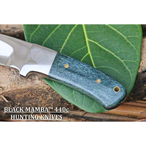 BLACK MAMBA KNIVES Fixed Blade Survival Knife 3 BLACK MAMBA KNIVES BMK-144 Green Fish 4.5 Inches Blade 440c Stainless Steel Hunting Knife Mirror Polished