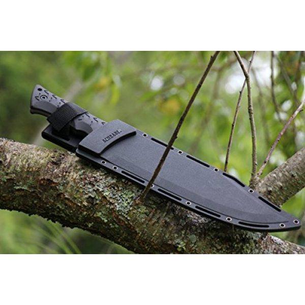 Schrade Fixed Blade Survival Knife 5 Schrade SCHF45 Leroy 16.5in High Carbon S.S. Full Tang Fixed Blade Knife with 10.4in Bowie Blade and TPE Handle for Outdoor Survival Camping and EDC