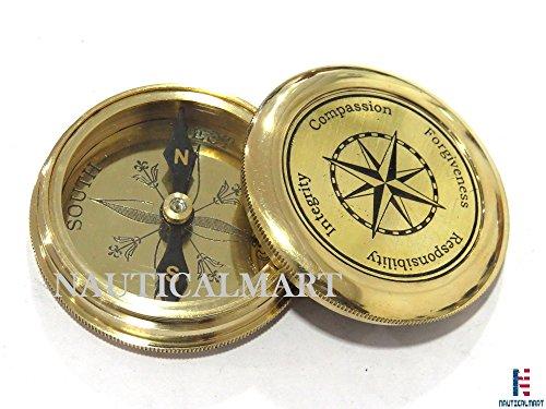 NauticalMart Survival Compass 3 NauticalMart Vintage Brass Compass with Nautical Gift Case Integrity, Responsibility, Forgiveness, Compassion Maritime