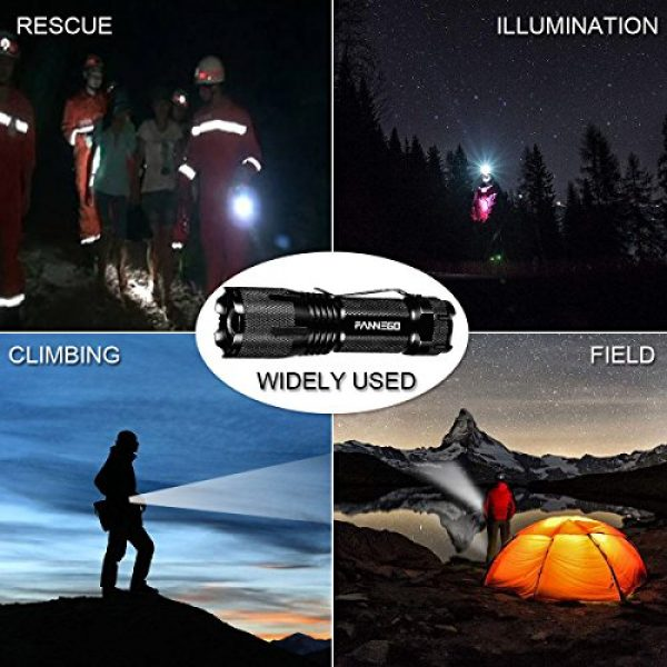 FANNEGO Survival Flashlight 5 LED Flashlight,FANNEGO Tactical Torch Light Handheld LNG Hunting Sight Zoomable and Waterproof for Camping Hikiearch Survival,Batteries Not Included