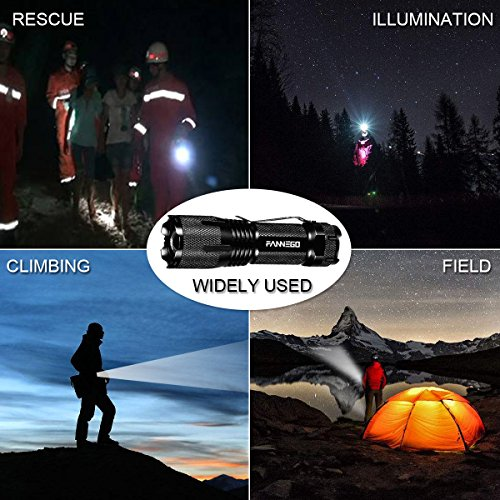 FANNEGO Tactical Torch Light Handheld LNG Hunting Sight Zoomable and Waterproof for Camping Hikiearch Survival