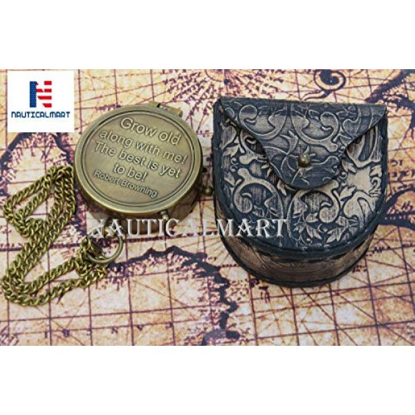 NauticalMart Survival Compass 2 NauticalMart Grow Old Along with Me Engraved Brass Compass with Chain and Leather case Gift for Wedding, Anniversary, Baptism, Retirement, or Christmas - Vintage Style Working Compass