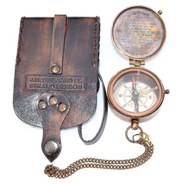 india nautical Survival Compass 4 india.nautical. Grow Old with ME Engraved Brass Compass ON Chain with Leather CASE, Directional Magnetic Compass in