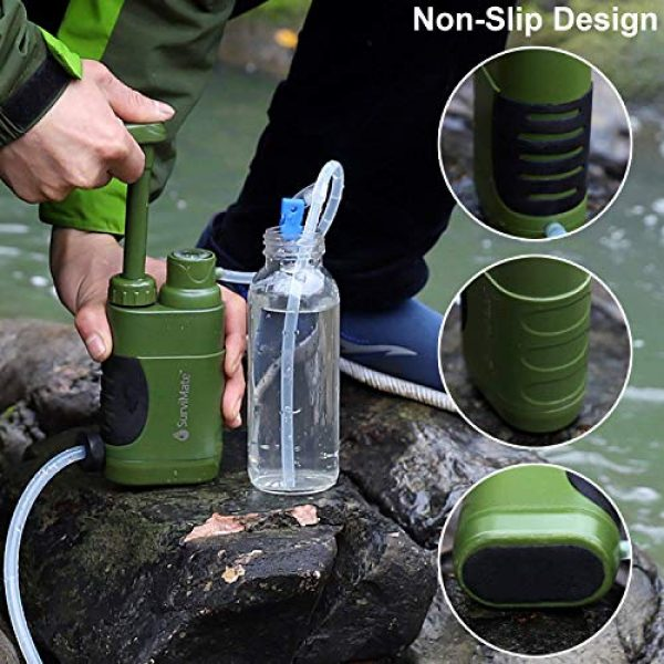 SurviMate Survival Water Filter 5 SurviMate Portable Water Filter Pump for Hiking Camping Travel Emergency use with Activated Carbon & 3 Filter Stages (Green) (Pump)