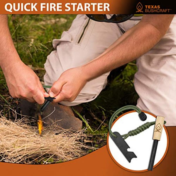 "Texas Bushcraft Survival Fire Starter 2 Texas Bushcraft Fire Starter - 3/8"" Thick Ferro Rod with Striker and Paracord Wrist Lanyard Waterproof Flint Fire Steel Survival Lighter and Multitool for Your Camping, Hiking and Backpacking Gear"